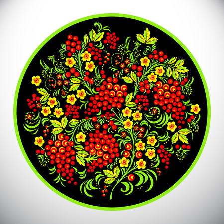 Khokhloma.Circle design vector illustration. Illustration