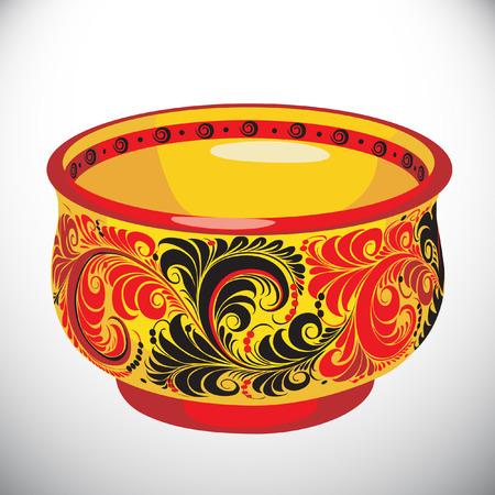 Khokhloma.Dishes vector illustration. Illustration