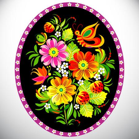 Petrykivka painting vector illustration.