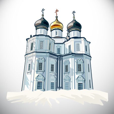 portone: Church.The Kazan Icon of the Mother of God Vettoriali