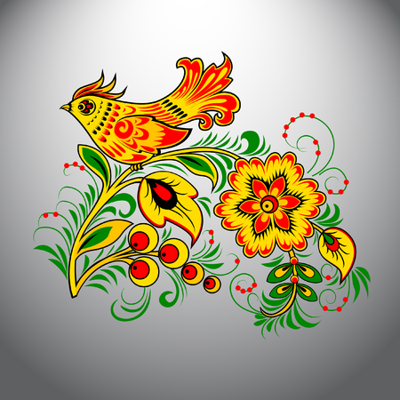 Khokhloma. Painting vector illustration. Illustration