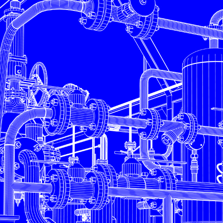 Blueprint of industrial vectors such as pipes, nuts and bolts