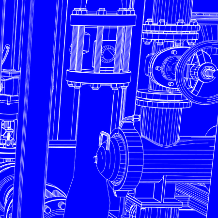 Blueprint of industrial machinery vectors such as pipes, nuts and bolts Иллюстрация