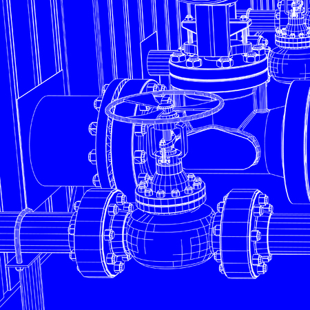 Industrial machinery blueprint vectors such as pipes,nuts and bolts
