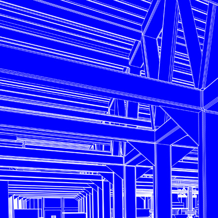 Industrial vectors such as beams and roofing blue print