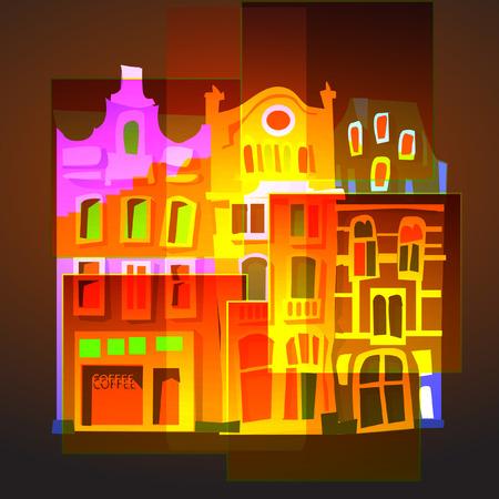 Cartoon buildings in various colors Иллюстрация