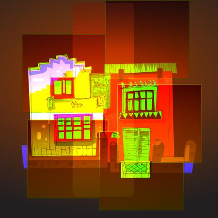 Cartoon buildings in various colors 일러스트