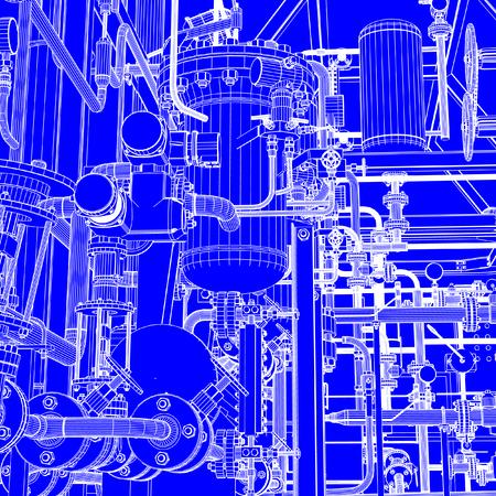 Industrial shop blueprint illustration.