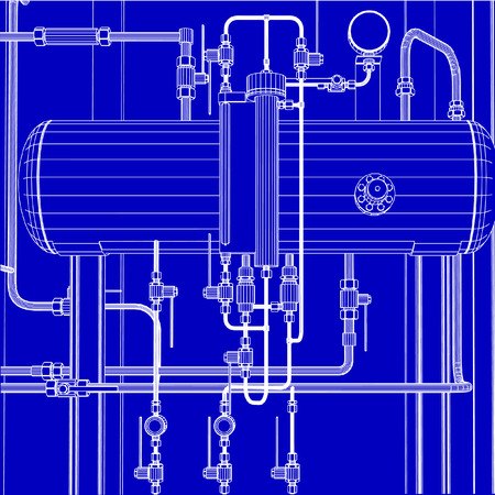Industrial machinery vectors such as pipes , nuts and bolts Иллюстрация