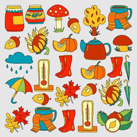 Doodle set of vectors for Autumn
