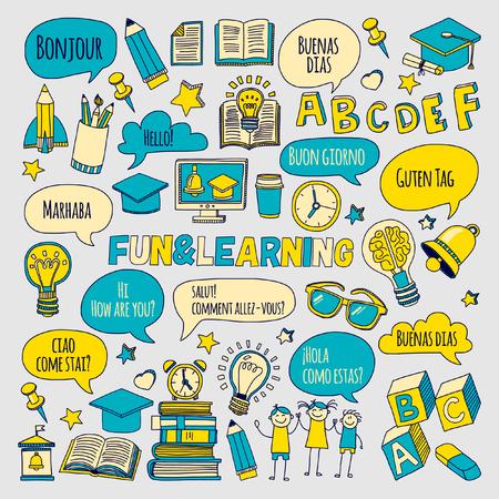 Language school doddle design.