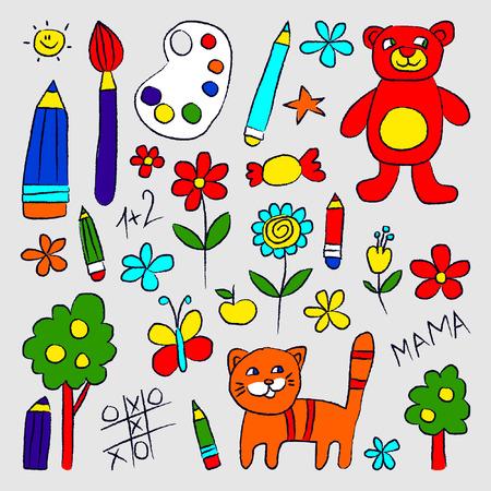 Doodle set of Toys like pencil , bear and cat Иллюстрация