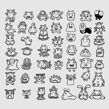 Doodle kit of various Monsters