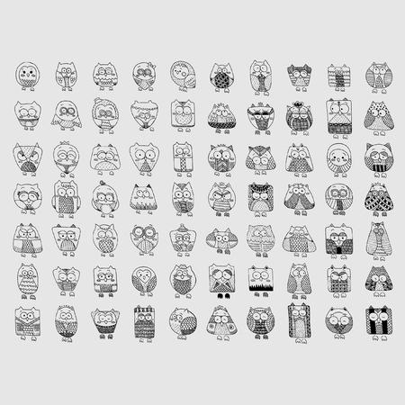 Doodle set of Owls Иллюстрация