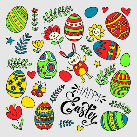 Doodle kit.Easter Ilustração