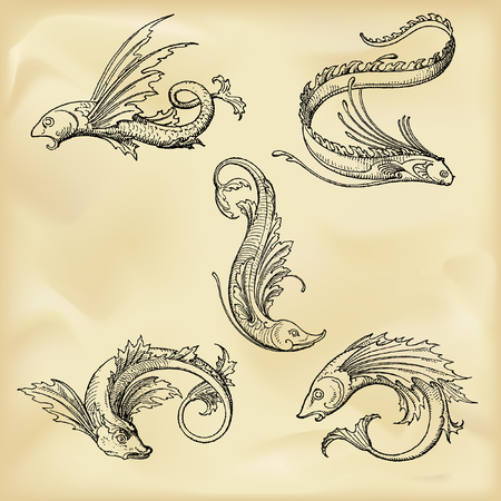 Vintage mythological creatures Vectores
