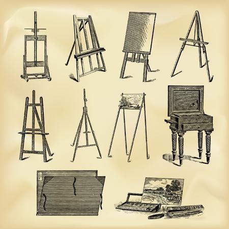Vintage kunstenaarshulpmiddelen