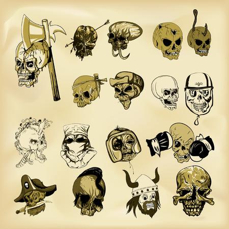 Hand-drawn human skulls illustration