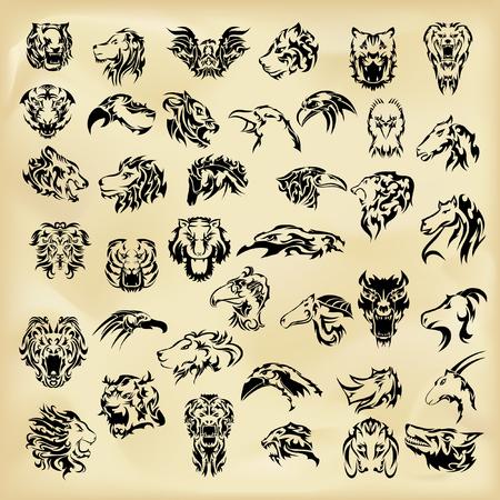 Illustrated set of wild animals