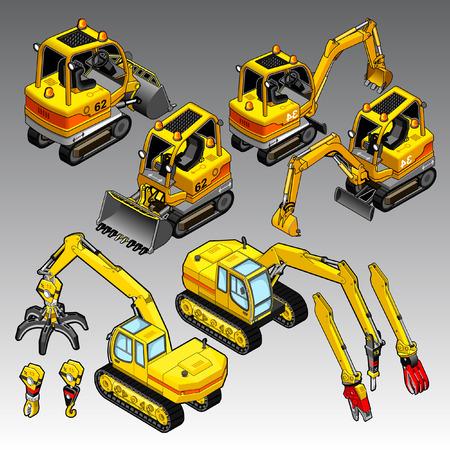 3d isometrische bouwmachines ingesteld Stock Illustratie