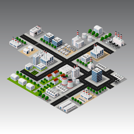 Isometric urban city Vector illustration.