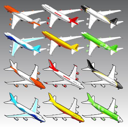 3d isometric airplanes illustration Иллюстрация