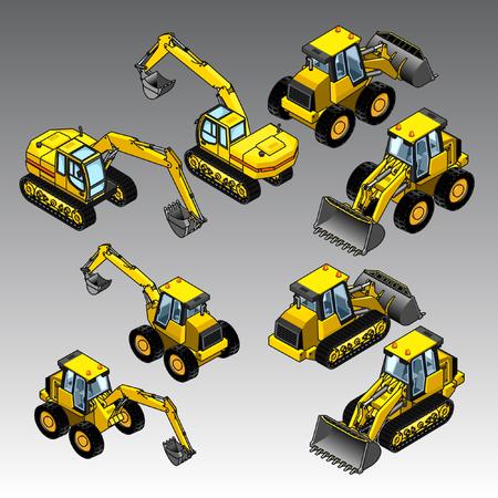 3d isometric construction machines set