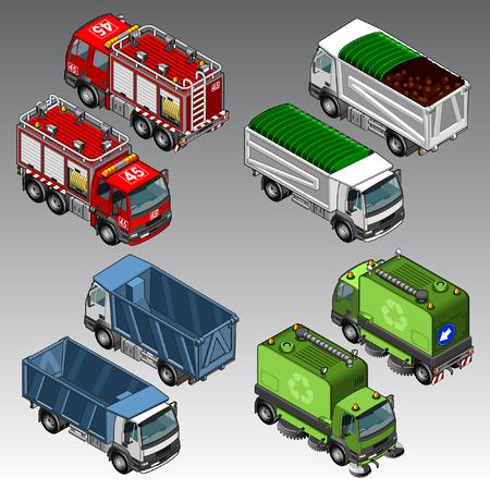 3d isometric cars set