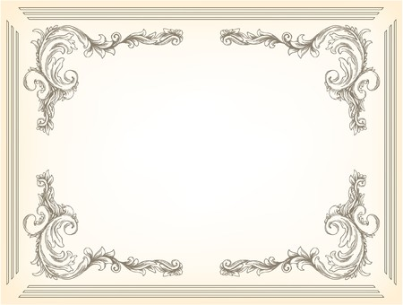 beautiful vintage illustration of a floral frame Stock Photo