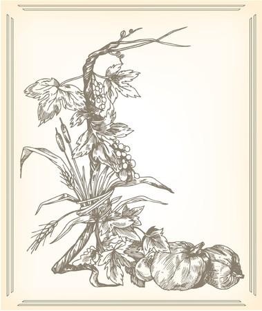 vintage illustration of a floral background baroque style
