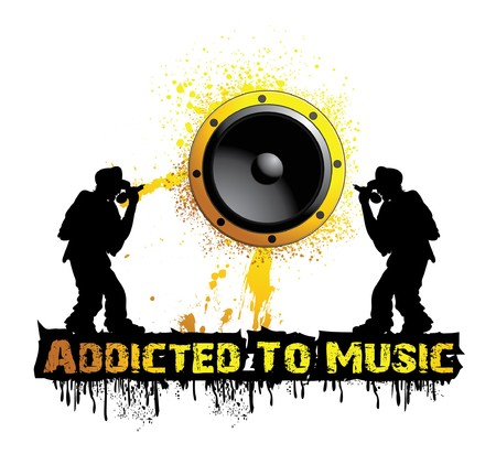 music illustration with grunge, silhouette and speaker
