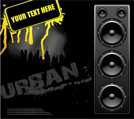 constuction: music illustration with grunge, city and speaker