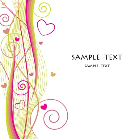 valentine illustration of an abstract floral background with hearts