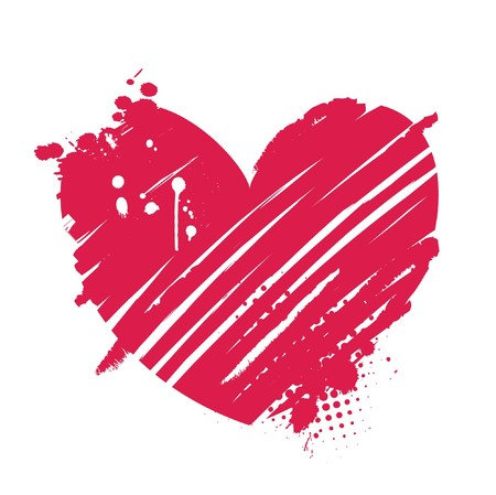 valentine illustration of an abstract heart with grunge