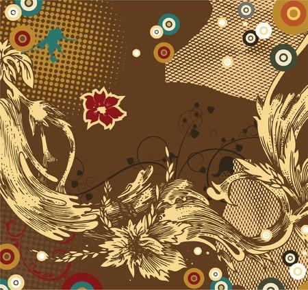 vintage illustration of a floral background with grunge