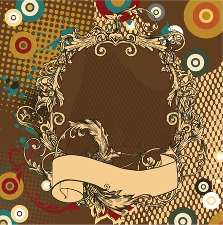 vintage illustration of a floral frame with scroll Stock Photo