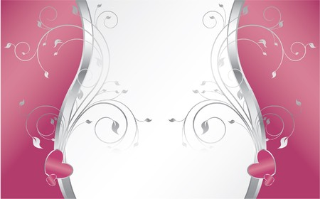 abstract illustration of a floral background with hearts Stock Photo