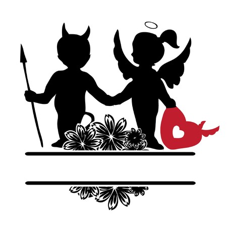 valentine illustration with hearts floral and silhouette