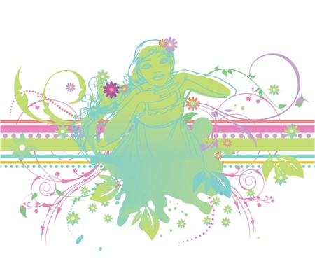 abstract illustration with floral, grunge and silhouette Stock Photo