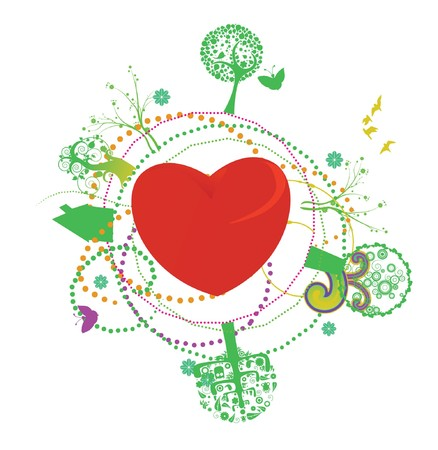 valentine illustration of a heart with floral Stock Photo