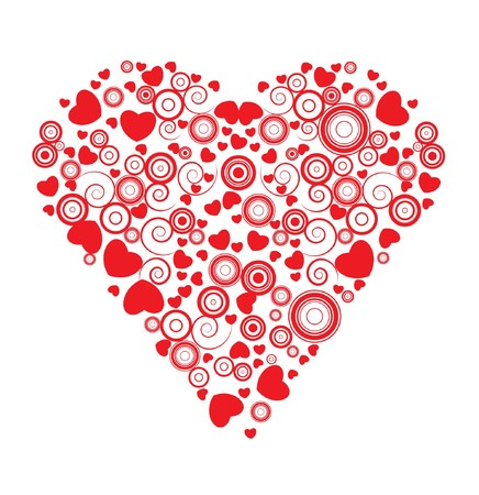 valentine illustration of a heart made of circles