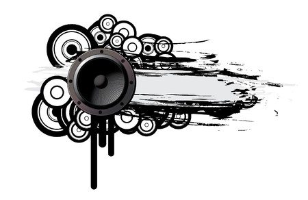 music illustration of a speaker with grunge and floral Stock Photo