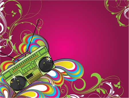 abstract background with floral and cassette player
