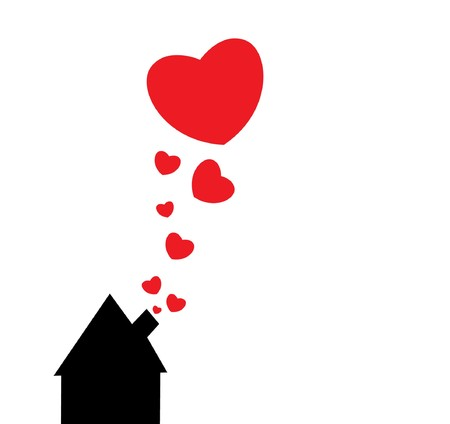 valentine illustration of an abstract background with hearts and a house Stock Photo