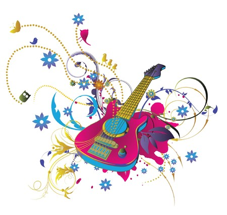 abstract illustration with floral, grunge and guitar