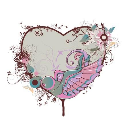 valentine illustration of a frame with floral