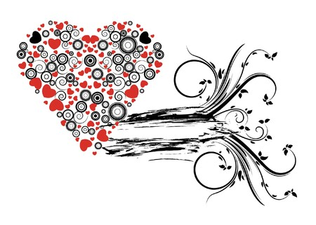 abstract illustration with floral, grunge and hearts