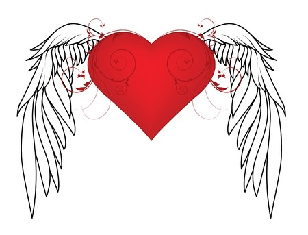 valentine illustration with heart, floral and wing Stock Photo