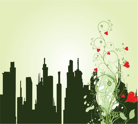 abstract illustration with floral, grunge and city Stock Photo