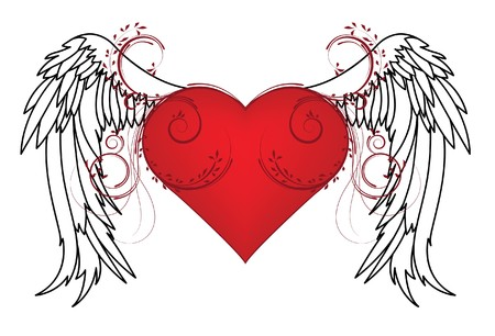 valentine illustration with heart, floral and wing Stock Illustration - 4302231